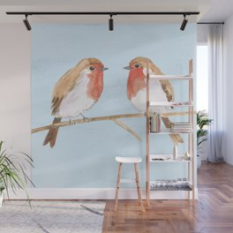 Two robins watercolor Wall Mural