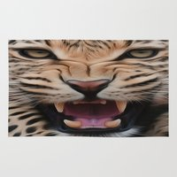 leopard Area & Throw Rugs featuring Leopard   by Brian Raggatt