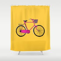 bicycle Shower Curtains featuring Bicycle  by bluebutton studio