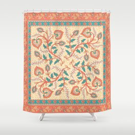 Square decorative design with ornament of flowers and leaves. Shower Curtain