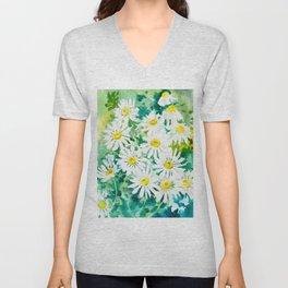 Chamomile Flowers, Herval design Field flowers wild flowers floral art Unisex V-Neck