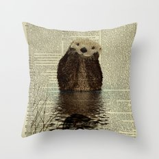 Otter in Love Throw Pillow