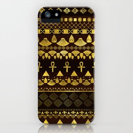 Egyptian Ethnic Pattern gold on rich browns iPhone Case