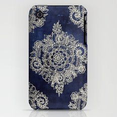 Cream Floral Moroccan Pattern on Deep Indigo Ink iPhone (3g, 3gs) Slim Case