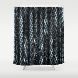Alien Columns - Blue and Black Shower Curtain