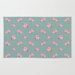 Pink Roses Repeat Pattern on Teal Rug