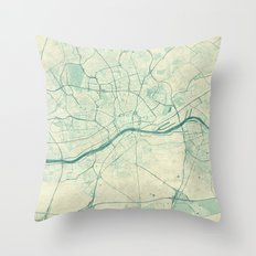 Frankfurt Map Blue Vintage Throw Pillow