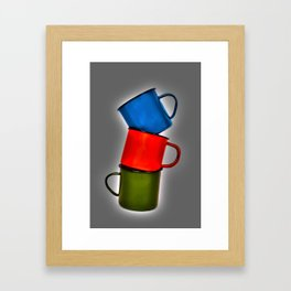 Vintage green, blue, red enamel mugs in modern look Framed Art Print