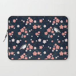 Navy blue cherry blossom finch Laptop Sleeve