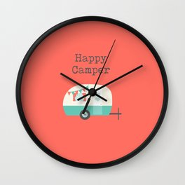 Happy Camper Coral Wall Clock