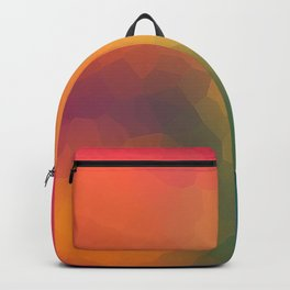 Low Poly Yellow Red Green and Pink Abstract Geometric Design Backpack