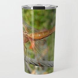 Female Red Skimmer Dragonfly Travel Mug