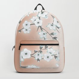 Rose Gold White Cherry Blossom Backpack