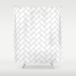 Traditional Herringbone - Grey Shower Curtain