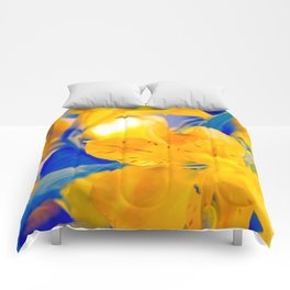 Blue and Gold Flowers Comforters