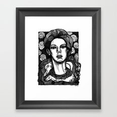 lady in garden Framed Art Print