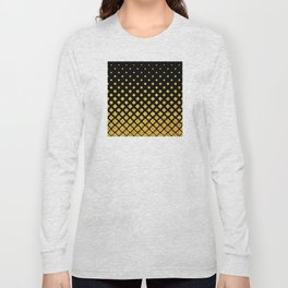 Art Deco Glitter-Gold Diamonds on Black Pattern Long Sleeve T-shirt
