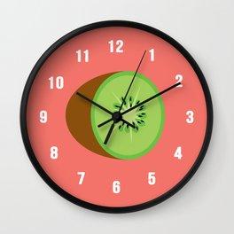 Kiwis on living coral bg. Wall Clock