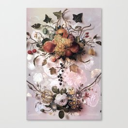 Victorian flowers and fruits Canvas Print