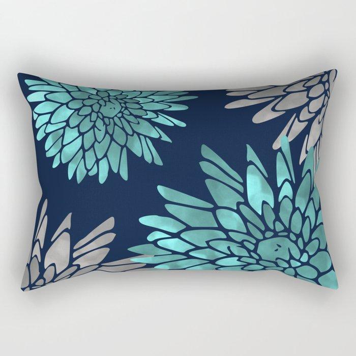 Floral Chrysanthemum Modern Navy Aqua Rectangular Pillow