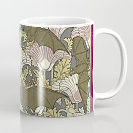 Burgundy Trimmed Art  Nouveau Bats & Poppy Patterns Coffee Mug