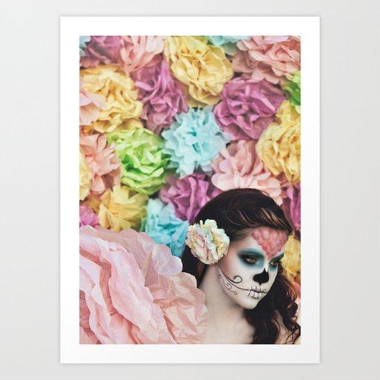 Sugar Skulls, Paper Flowers; Chasing Light, The Golden Hour Art Print