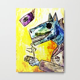 strange horses giving friendship Metal Print