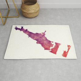 Corpus Christi Texas city watercolor map in front of a white background Rug