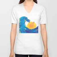 hokusai V-neck T-shirts featuring Hokusai Rainbow & Hibiscus_Y  by FACTORIE