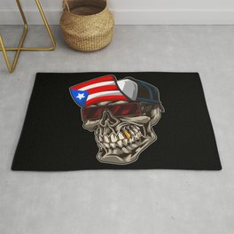 Cool Puerto Rico Skull With Cap and Boricua Flag Rug