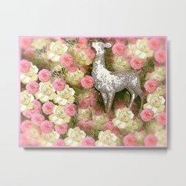 White Deer and Pink Roses Metal Print