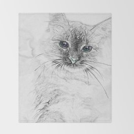 Siberian Kitty Cat Laying on the Marble Slab Throw Blanket