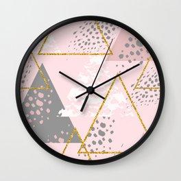 Light Pink Geometric Triangle Pattern Wall Clock