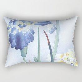 Bee And Blue Iris Flowers - Vintage Japanese Woodblock Print Art By Ohara koson Rectangular Pillow