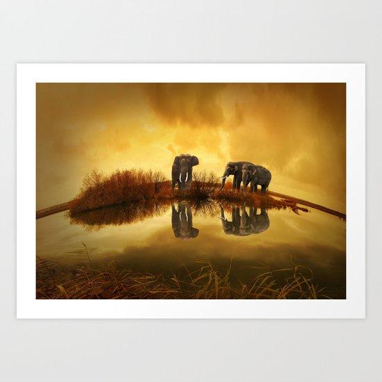 The Herd (Elephants) Art Print