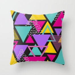 Memphis Triangles Throw Pillow