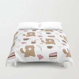 Cats and Coffee Duvet Cover