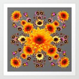Yellow Sunflowers Floral Pattern Grey Art Art Print