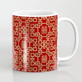 Chinese Pattern Double Happiness Symbol Gold on Red Coffee Mug