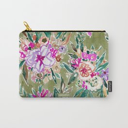 LUSH LIFE Colorful Tropical Watercolor Floral Carry-All Pouch