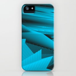 Psychedelic foil light blue landscap with stylised mountains, sea and Sun. iPhone Case
