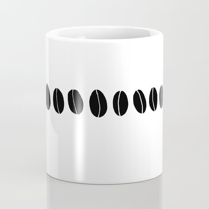 Black and White Coffee Beans Drawing by Emma Freeman Designs Coffee Mug