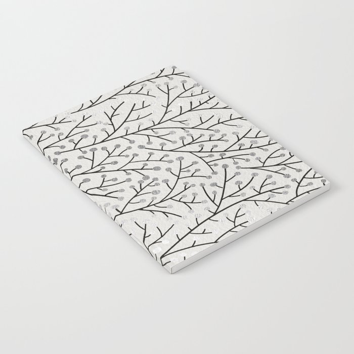 Berry Branches – Silver & Black Notebook