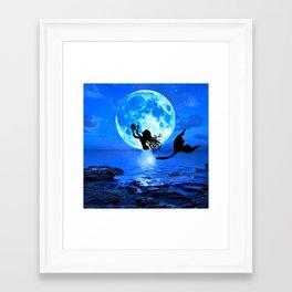 Moonlight Mermaid - Blue Framed Art Print