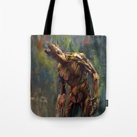 groot Tote Bags featuring I am Groot! by Wisesnail