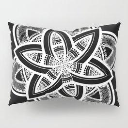 Authentic white mandala on black Pillow Sham