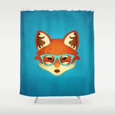 Hipster Fox: Azure Shower Curtain