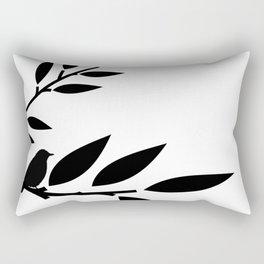 Bird and Branches Silhouette Rectangular Pillow