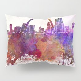 St Louis skyline in watercolor background Pillow Sham