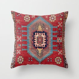 Tribal Honeycomb Palmette II // 19th Century Authentic Colorful Red Flower Accent Pattern Throw Pillow